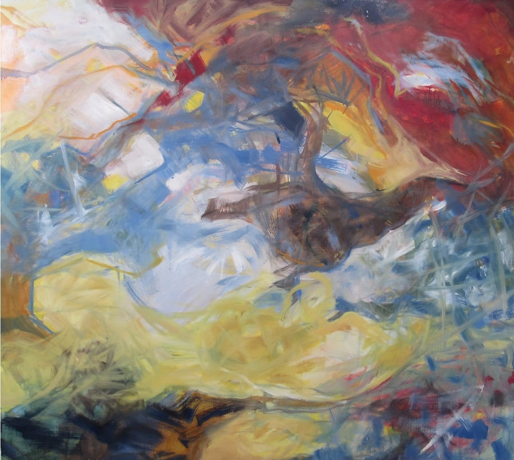 An abstract painting of a bird flying towards freedom.