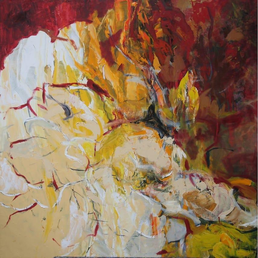Geliefde Abstract schilderij 'Bloemen', olieverf op doek - YvonneMaya Bakker @QM45