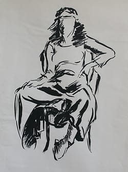 Inkdrawing of a young woman with a long skirt with her legs pulled up.