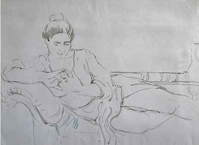 Drawing of a woman on chaise longue