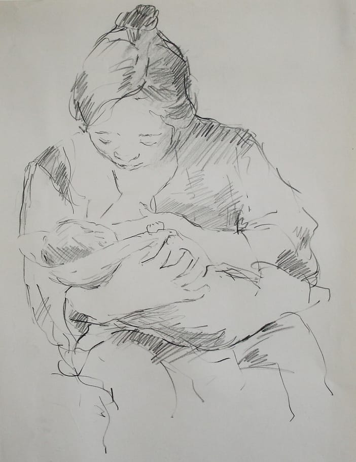 Drawing of a japanese mother breastfeeding