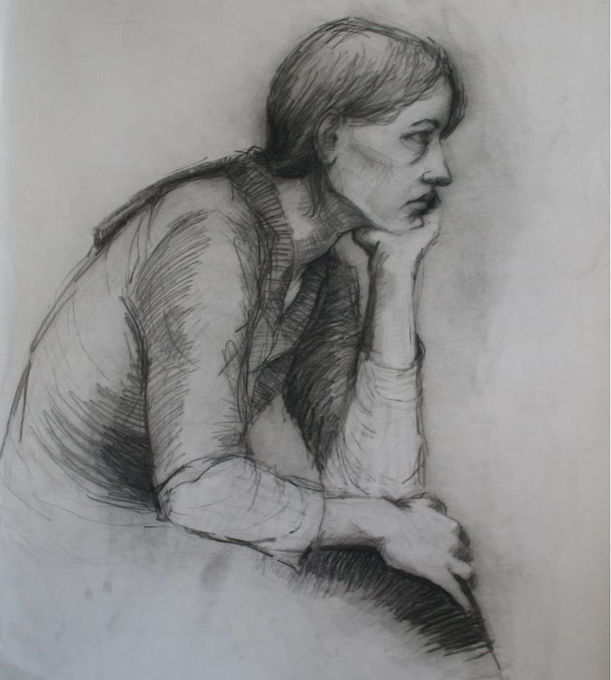 Drawing of a sitting woman, chin supported by her hand, seen from the side.