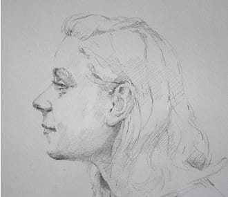 Portraitdrawing of a young woman with flowing hair, seen from the side.
