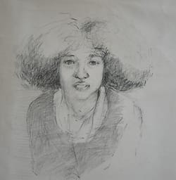 Portraitdrawing of a young surinamese woman.