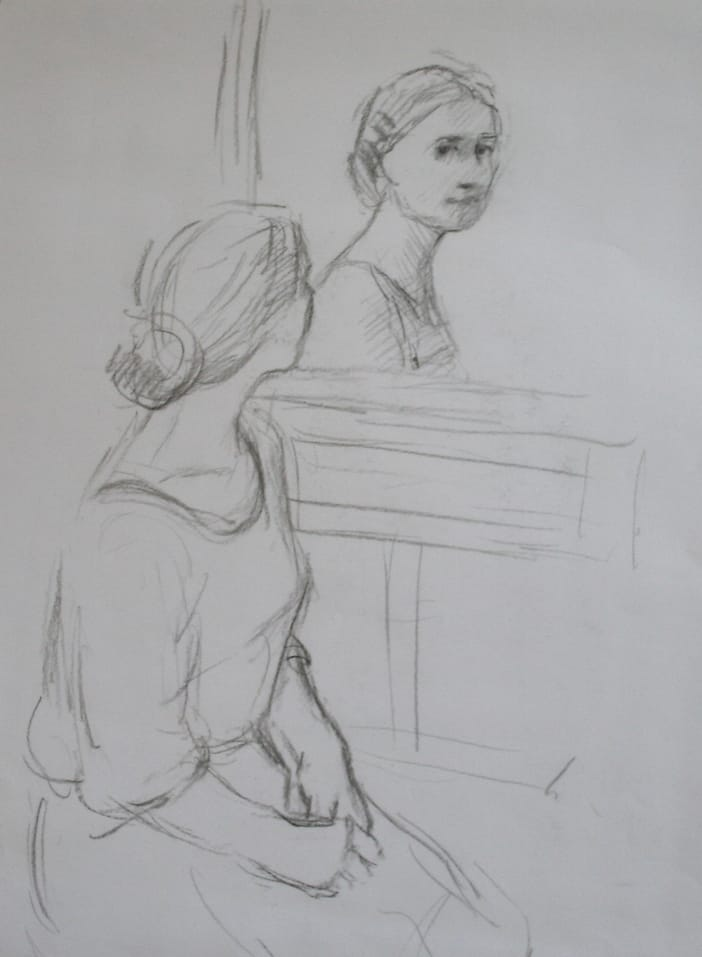 Pencildrawing of a woman sitting in front of a woman, looking at herself, with her hands in her lap.