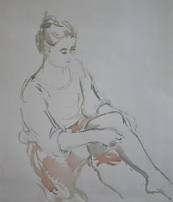 Watercolor of a young woman putting on her stockings.