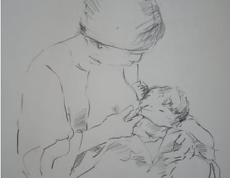 Pencildrawing of a japanese woman breastfeeding her baby