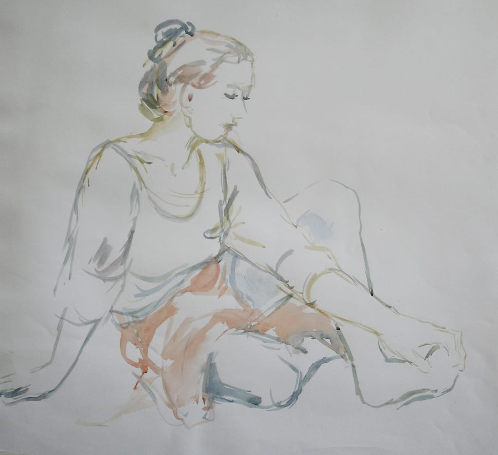 Watercolor of sitting woman.