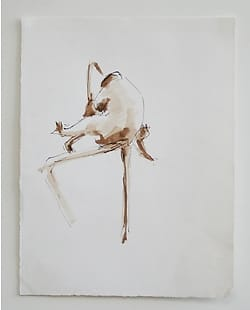 Washed inkdrawing of two monkeys grooming eachother on a branch.