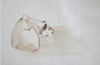 Ink drawing of a lioness lying down, Zen style.