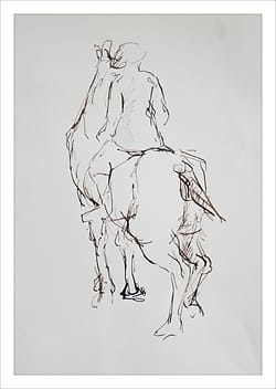 Drawing of a rider on his horse, seen from the back.