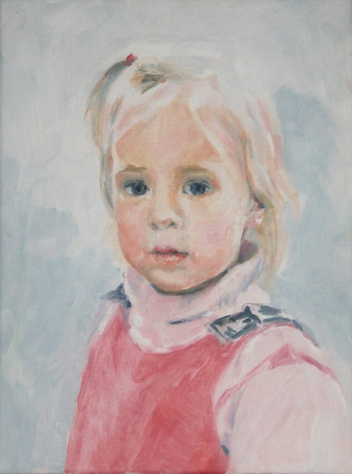 Small, contemplative girl with blond hair. Soft colors with blue and pink.