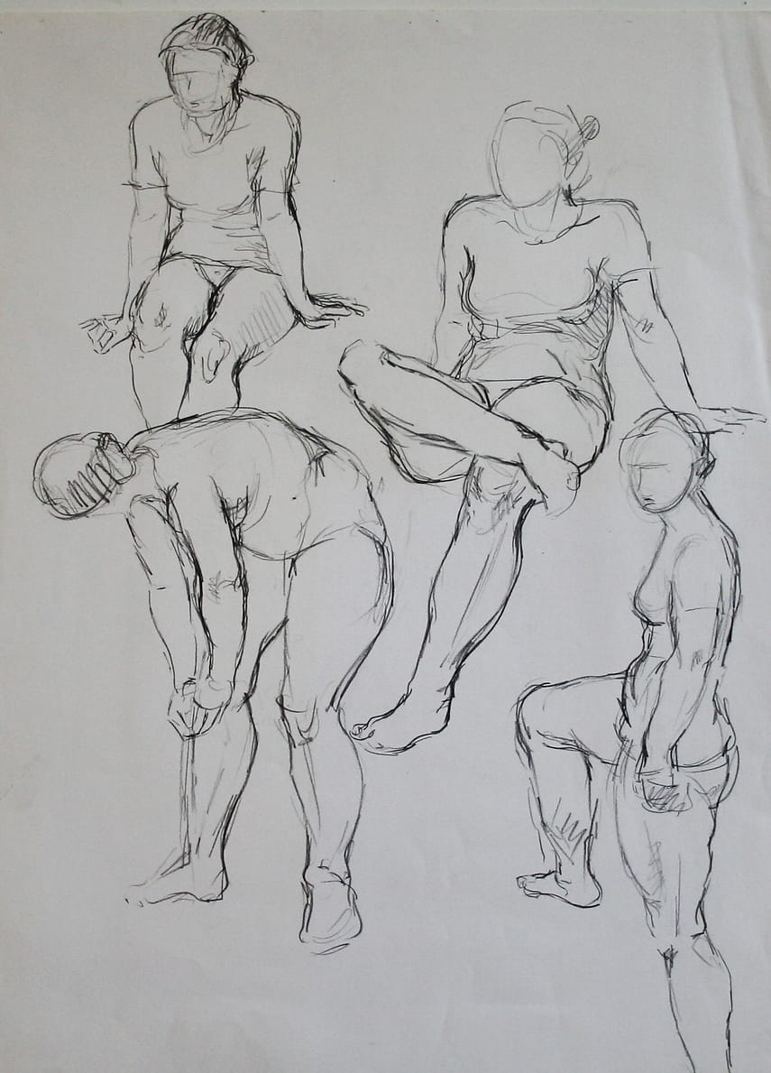 Pencildrawings of a model posing in four different positions.