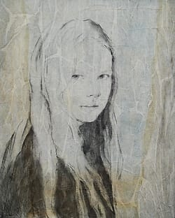 Portrait drawing of a girl with long hair, looking aside.